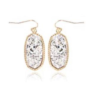 Lightweight Acrylic Stone Druzy Crystal Earrings